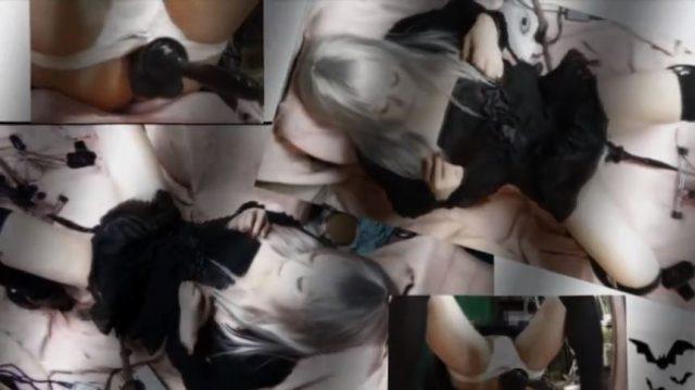吸血鬼コスプレした男の娘が乳首コリコリしながらファッキングマシンでアナニーwww